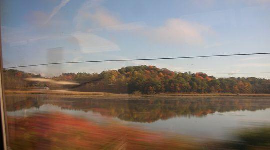 大自然の中を走るアムトラックの車窓から。紅葉が美しい