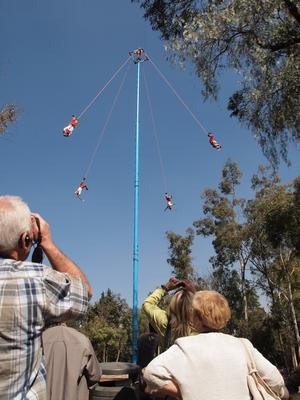 足をロープで縛り高さ15mからダイブ