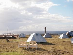 イースター島のキャンプサイト・ミヒノア。絶好のロケーション