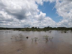 イグアスの滝の川の水はにごっている