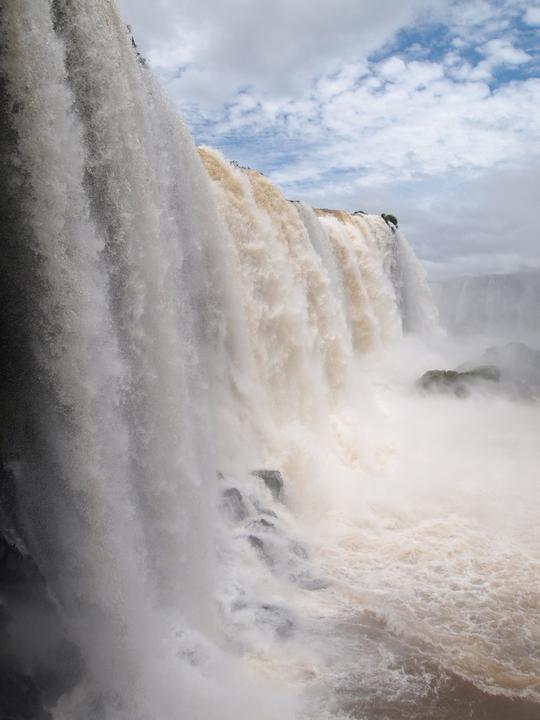 目の前を滝が流れ落ちるイグアスの滝