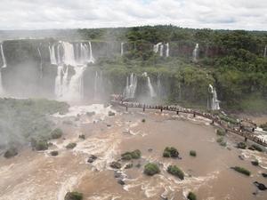 遊歩道から眺めるブラジル側イグアスの滝