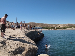 バルデス半島のただのビーチ プンタ・ピラミデで飛び込む人々