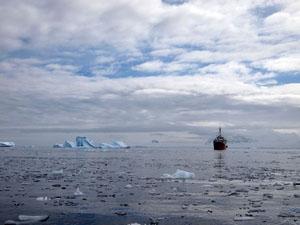 南極の海には小さな流氷から大きな流氷までサイズは様々