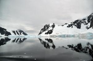 南極のとろりとした海水が雪解けの山肌を移す