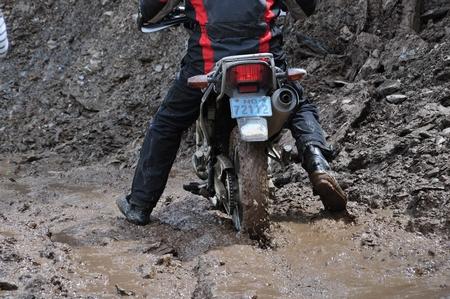 マチュピチュ行きの途中の悪路。バイクですら苦戦