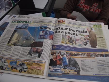 ペルーの新聞で日本の津波のことを報じていた
