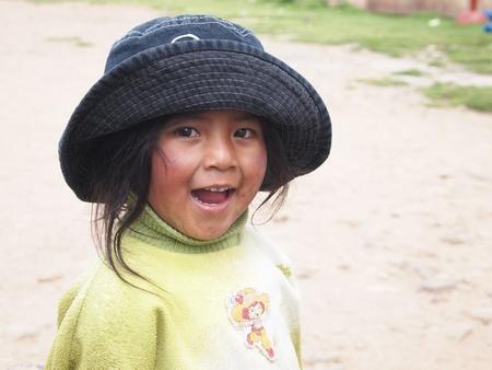 ペルー、ボリビアの国境近くにいた女の子