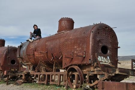 列車の墓場では、昔使われていた列車がそのまま放置されている。その2