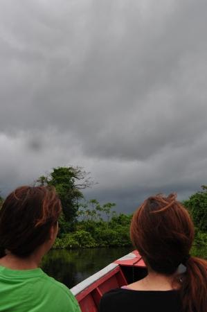 パンパツアーでジャングルの川をボートで進むも。。